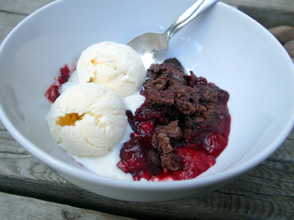 Dark Chocolate Raspberry Cobbler from dirtydishclub.com